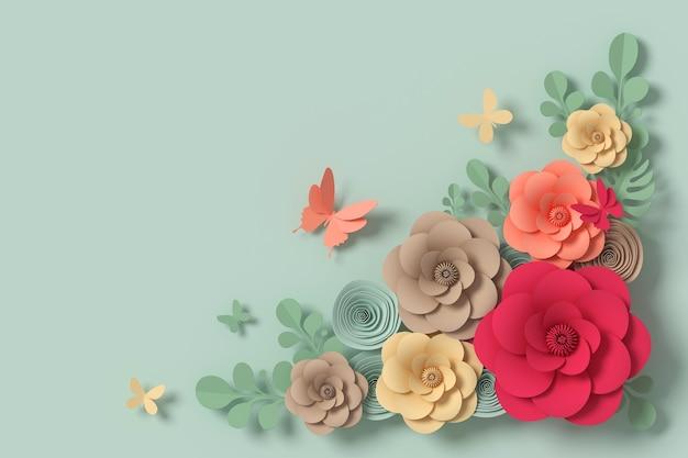 Style de papier fleur, artisanat en papier floral, mouche de papier papillon, rendu 3d Photo Premium