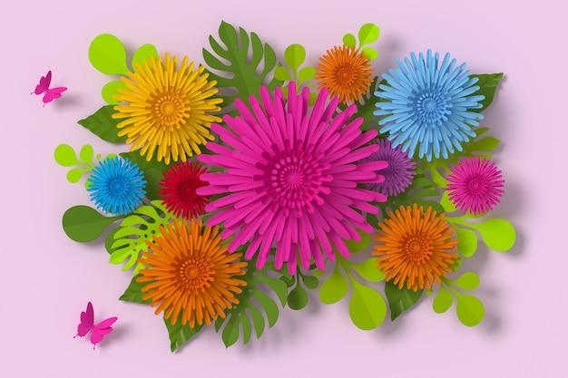 Style de papier de fleur, artisanat en papier floral, papier papillon. Photo Premium