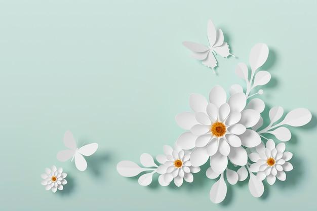 Style de papier fleur blanc, artisanat en papier floral, mouche de papier papillon Photo Premium
