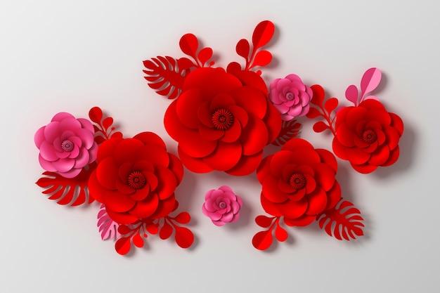 Style de papier fleur, rose coloré, artisanat en papier floral, rendu 3d, avec un tracé de détourage. Photo Premium