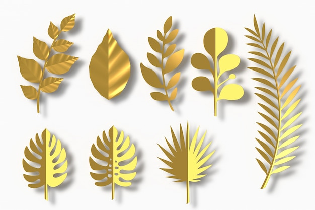 Style de papier gold leaves, rendu 3d Photo Premium