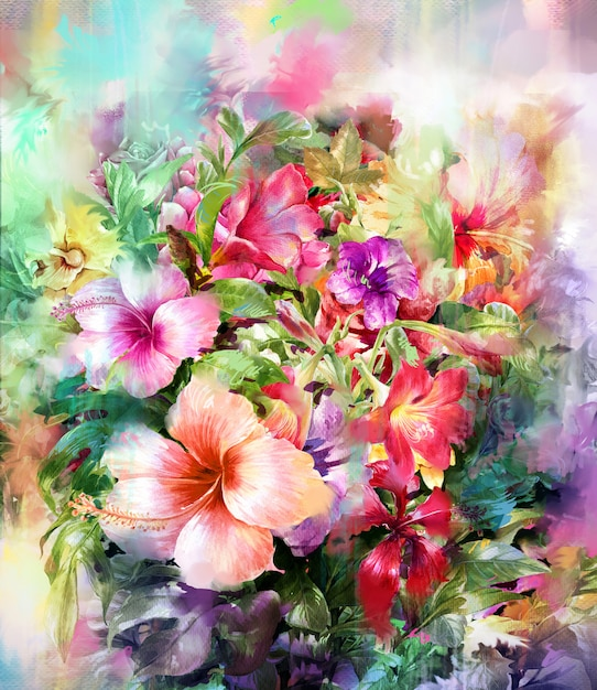 Style de peinture aquarelle bouquet de fleurs multicolores Photo Premium