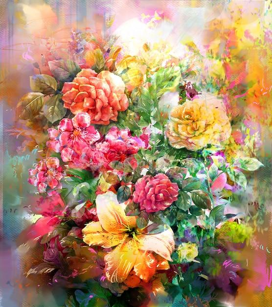 Style de peinture aquarelle bouquet de fleurs multicolores Photo Premium