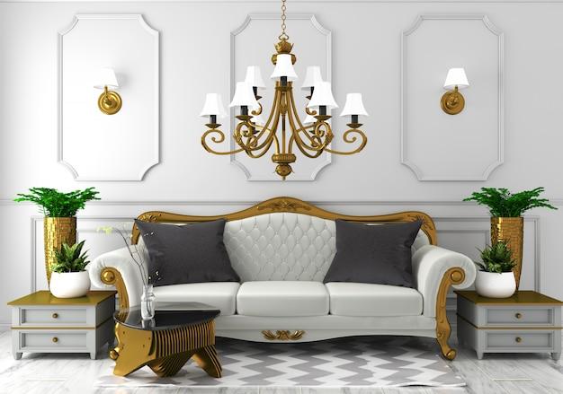Stilul clasic in amenajari interioare: interior in stil clasic de lux, cu pereti albi, si pardoseala decorativa din dale de granit;