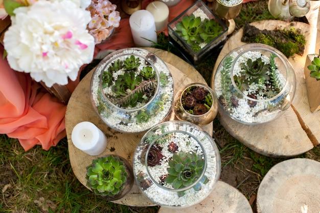 Succulentes Dans La Décoration De Mariage Photo Premium