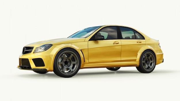 Super rapide voiture de sport couleur or métallique sur blanc Photo Premium