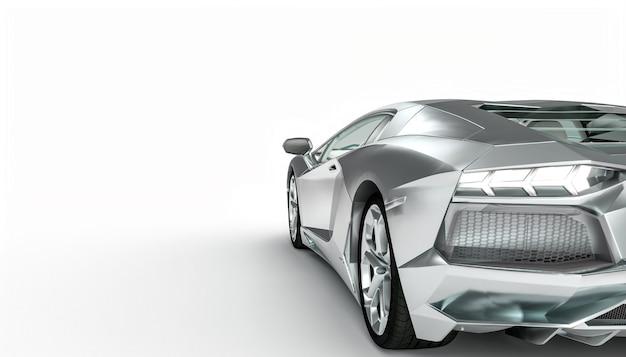 Supercar De Couleur Aluminium Sur Une Surface Blanche Photo Premium