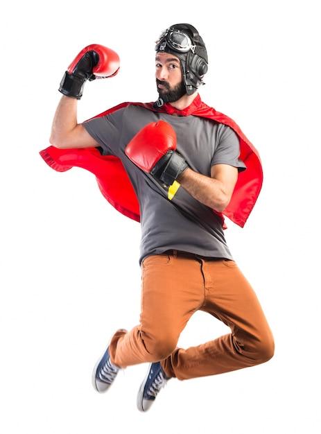 Superhero avec des gants de boxe Photo gratuit