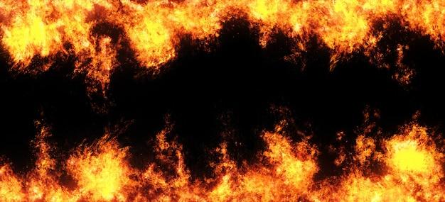 Superposition abstraite de flammes de feu sur un fond noir. Photo Premium