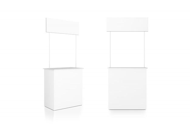 Support De Comptoir Publicitaire Blanc Vierge, Vue De Face Et De Côté Photo Premium