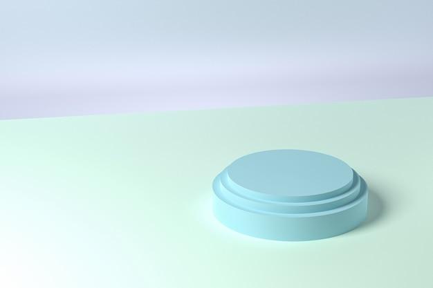 Support Ou Piédestal En Forme De Cylindre Bleu Pour Les Produits. Rendu 3d Photo Premium
