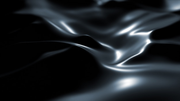 Surface Sombre Avec Reflets. Fond De Vagues Noires Minimales Lisses. Vagues De Soie Floues. écoulement Minimal D'ondes De Gris Doux. Photo gratuit