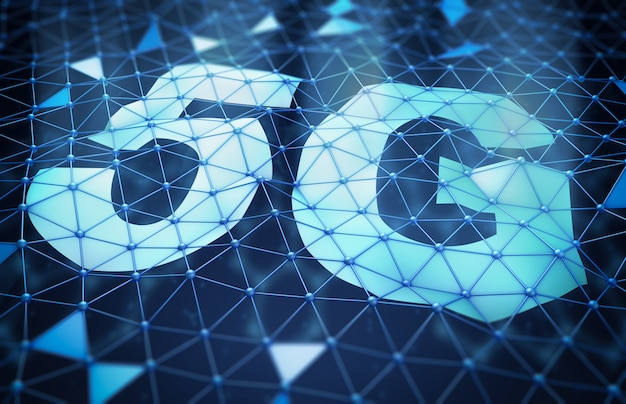 Symbole 5g et un réseau de cellules triangulaires Photo Premium