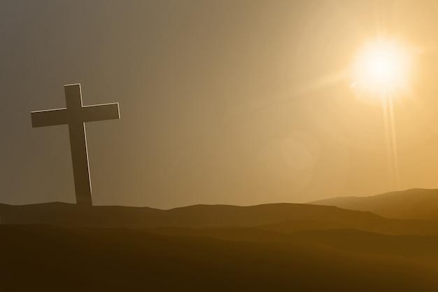 Symbole de croix sur les dunes de sable Photo Premium