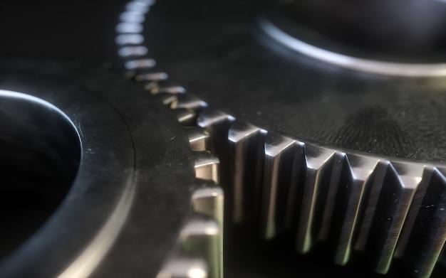 Symbole de l'engrenage métallique sur fond blanc. mécanisme d'engrenage 3d. Photo Premium
