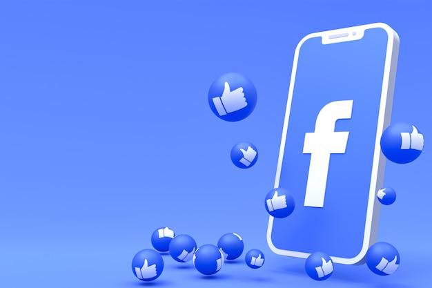 Symbole Facebook Sur Smartphone à L'écran Ou Rendu 3d Mobile Et Réactions Facebook Amour, Wow, Comme Rendu 3d Emoji Photo Premium