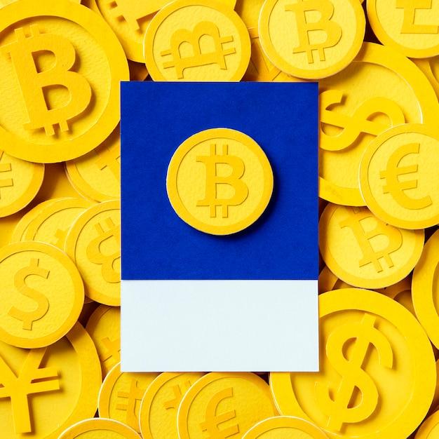 Symbole de la monnaie économique bitcoin or Photo gratuit