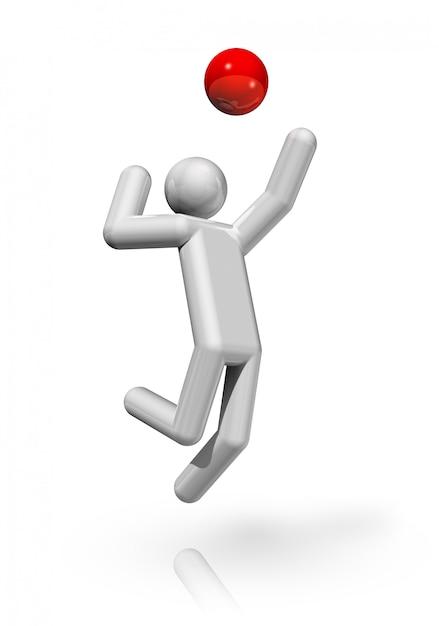 Symbole de volleyball en trois dimensions Photo Premium