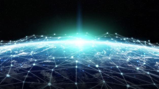 Système de connexions et échanges de données sur le rendu 3d de la planète terre Photo Premium