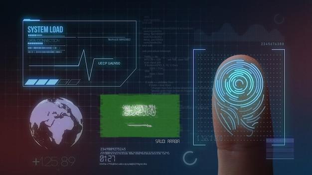 Système d'identification biométrique à balayage d'empreintes digitales. arabie saoudite nationalité Photo Premium