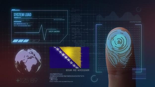 Système d'identification biométrique à balayage d'empreintes digitales. bosnie-herzégovine nationalité Photo Premium