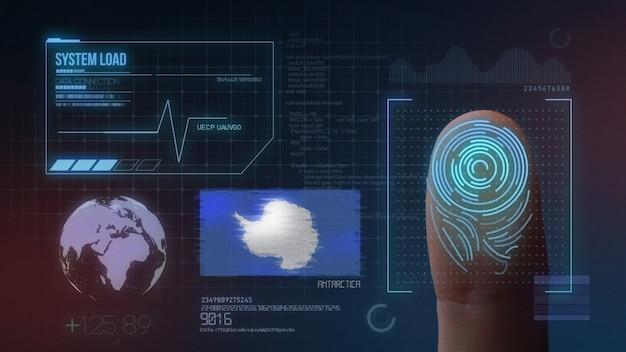Système d'identification biométrique à balayage d'empreintes digitales. nationalité antarctique Photo Premium