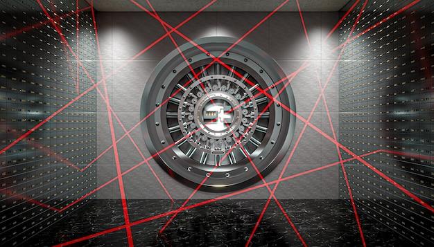 Système De Sécurité à Faisceau Laser à L'intérieur D'une Banque Photo Premium
