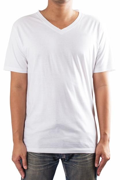 T-shirt blanc Photo Premium