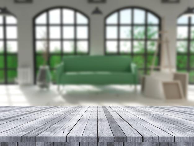Table en bois 3d donnant sur un intérieur défocalisé Photo gratuit