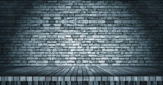 Table en bois 3d donnant sur un mur de briques Photo gratuit