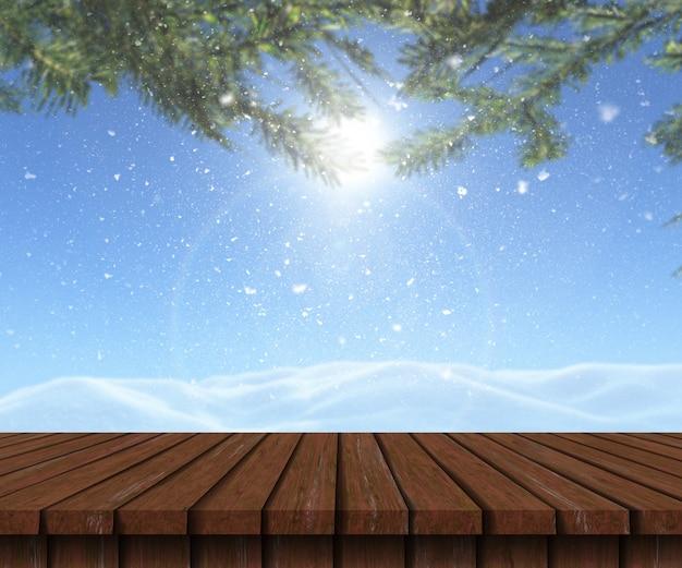 Table en bois 3d donnant sur un paysage enneigé Photo gratuit