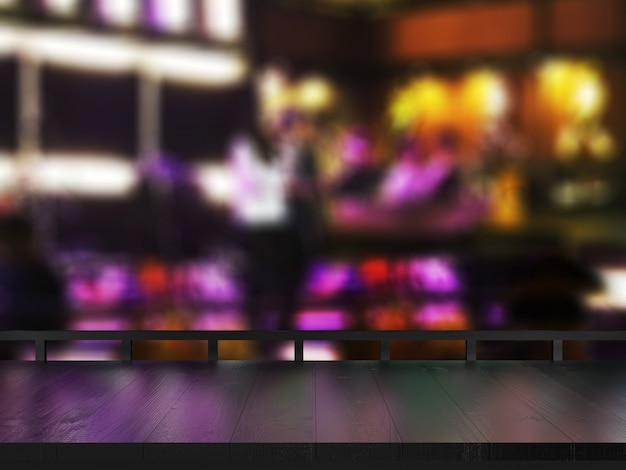 Table en bois sur fond de club flou. Photo Premium