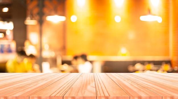 Table En Bois Sur Fond Flou Photo Premium