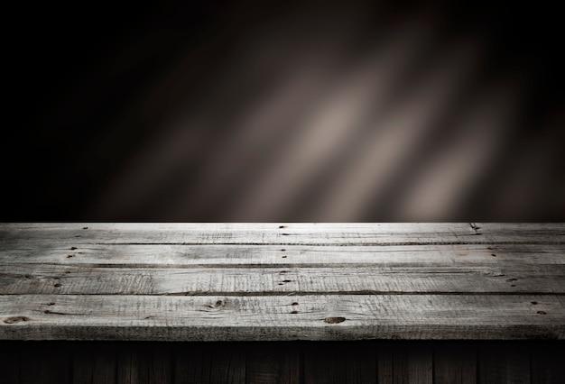 Table en bois sombre, perspective en bois Photo Premium