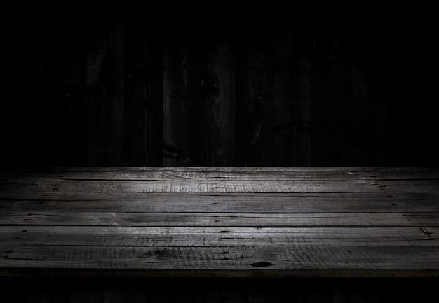 Table en bois sombre pour l'affichage des produits Photo Premium