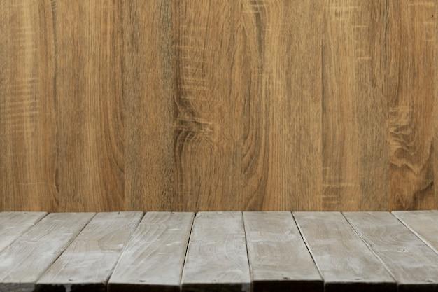 Table en bois supérieure vide et fond de cloison en bois Photo Premium