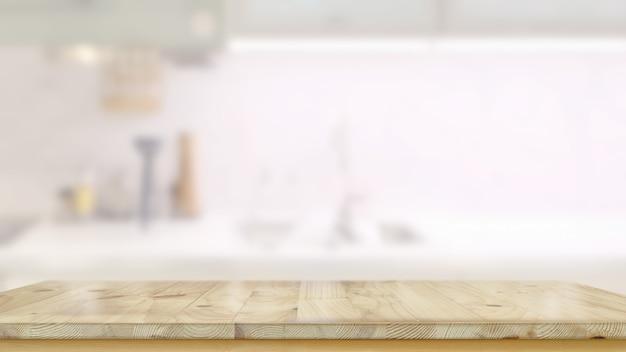 Table en bois vide dans la salle de cuisine et espace de copie pour le montage de produits ou d'aliments Photo Premium