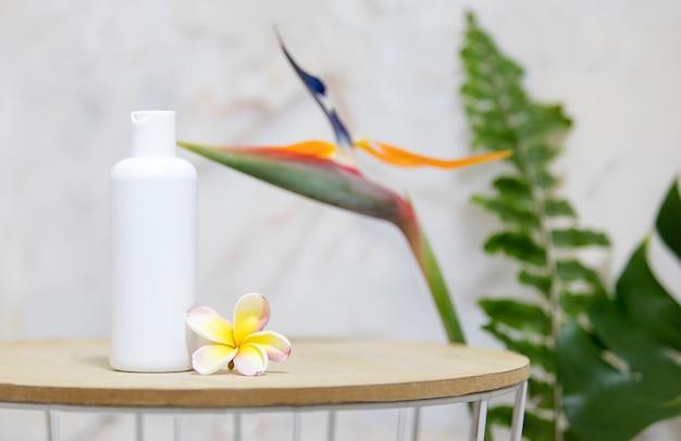 Table Avec Bouteille Blanche Transparente Et Feuilles De Palmier Vertes Sur Mur De Marbre Photo gratuit