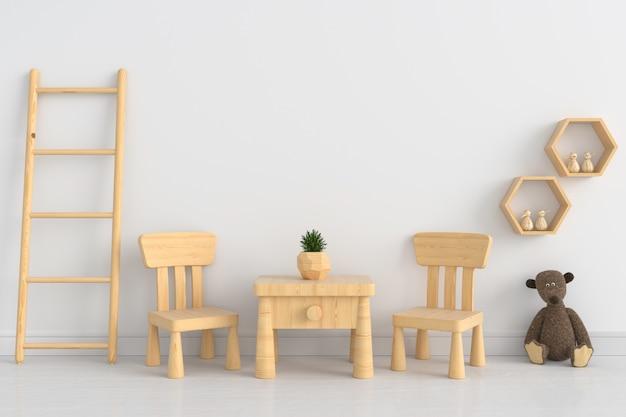 Table et chaise en bois dans une chambre d'enfant blanche pour maquette, rendu 3d Photo Premium