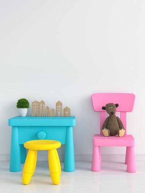 Table et chaise en chambre d'enfant blanche pour maquette Photo Premium