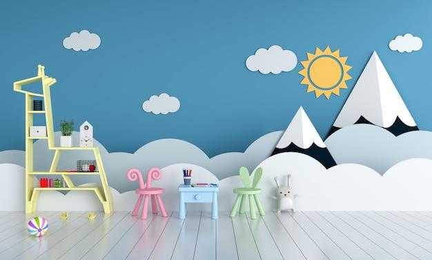 Table et chaise dans la chambre des enfants bleue pour maquette Photo Premium