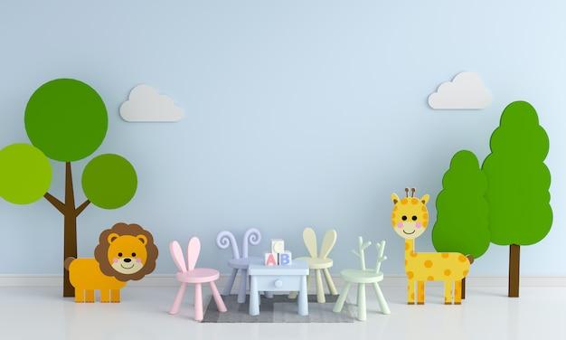 Table Et Chaise Dans La Salle De Jeux D'enfant Bleu Pour Maquette Photo Premium