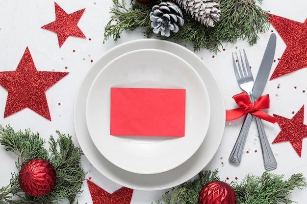 Table De Noël Festive à Plat Photo gratuit