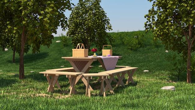 Table De Pique-nique Sur La Nature Photo Premium