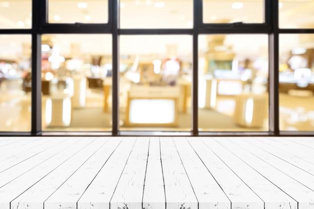 Table vide de planche de bois blanc perspective Photo Premium