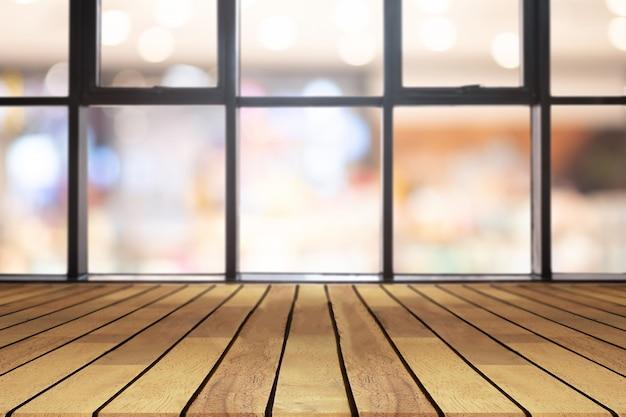 Table vide de planche de bois de perspective Photo Premium