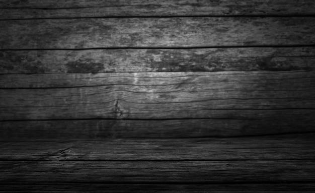 Table vierge avec fond de bois foncé Photo Premium