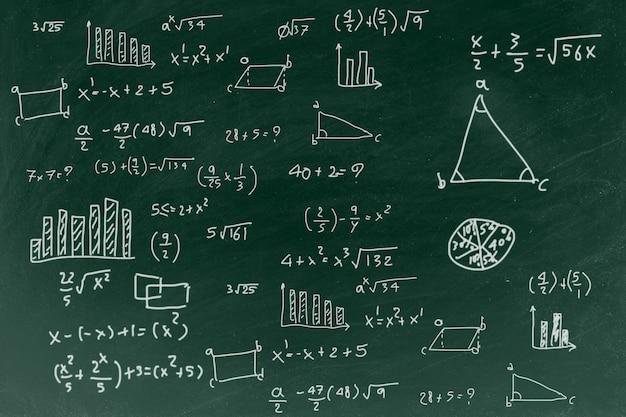 Tableau avec l'écriture de fond de formule mathématique Photo Premium