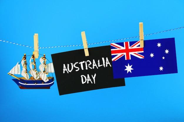 Tableau avec l'inscription: happy day of australia Photo Premium