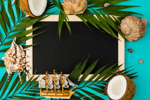 Tableau noir avec des feuilles de la plante et des noix de coco près des coquillages Photo gratuit
